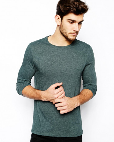 Fashion Shop - ASOS Slim Fit 3/4 Sleeve T-Shirt With Crew Neck - Greenmarl