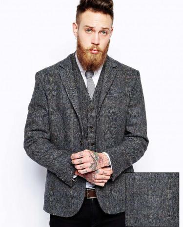 Fashion Shop - ASOS Slim Fit Blazer In Harris Tweed - Grey