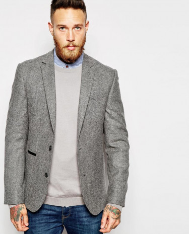 Fashion Shop - ASOS Slim Fit Blazer In Tweed - Grey