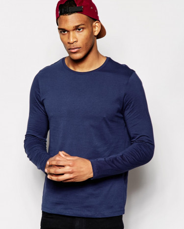Fashion Shop - ASOS Slim Fit Long Sleeve T-Shirt With Crew Neck - Navy