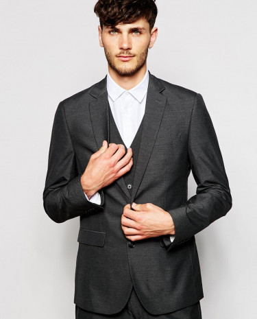 Fashion Shop - ASOS Slim Fit Suit Jacket In Charcoal - Charcoal