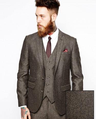 Fashion Shop - ASOS Slim Fit Suit Jacket In Herringbone - Brown