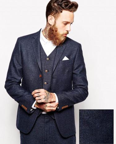 Fashion Shop - ASOS Slim Fit Suit Jacket In Herringbone - Navy