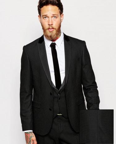 Fashion Shop - ASOS Slim Fit Suit Jacket In Polka Dot - Black