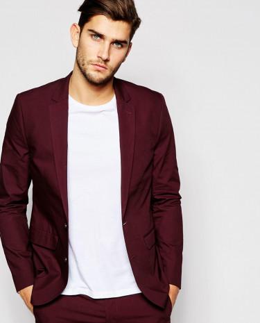 Fashion Shop - ASOS Slim Fit Suit Jacket In Poplin - Burgundy