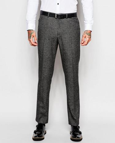 Fashion Shop - ASOS Slim Fit Suit Pants In Birdseye - Black