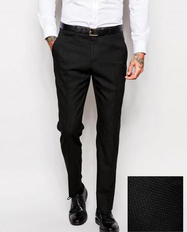Fashion Shop - ASOS Slim Fit Suit Pants In Polka Dot - Black