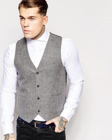 Fashion Shop - ASOS Slim Fit Waistcoat In Tweed - Grey