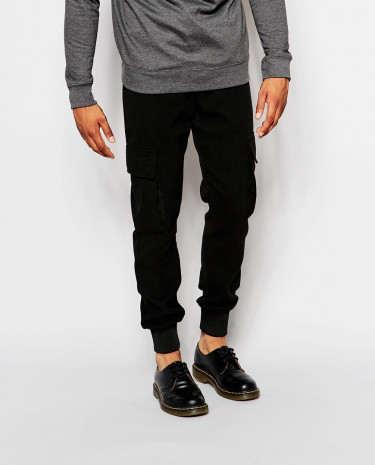Fashion Shop - ASOS Slim Joggers In Cargo Style - Black