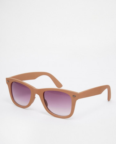 Fashion Shop - ASOS Square Sunglasses With Soft Touch Frame - Brown