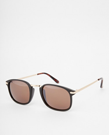 Fashion Shop - ASOS Square Sunglasses with Metal Nose Bridge - Black