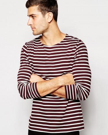 Fashion Shop - ASOS Stripe Long Sleeve T-Shirt With Boat Neck - Oxbloodoffwhite