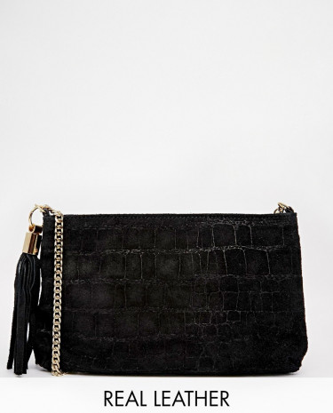 Fashion Shop - ASOS Suede Embossed Croc Cross Body Bag - Black