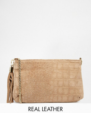Fashion Shop - ASOS Suede Embossed Croc Cross Body Bag - Mink