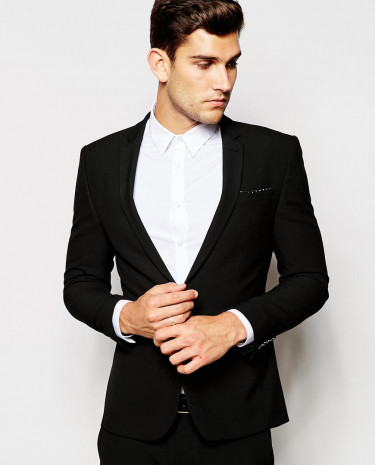 Fashion Shop - ASOS Super Skinny Suit Jacket In Black - Black