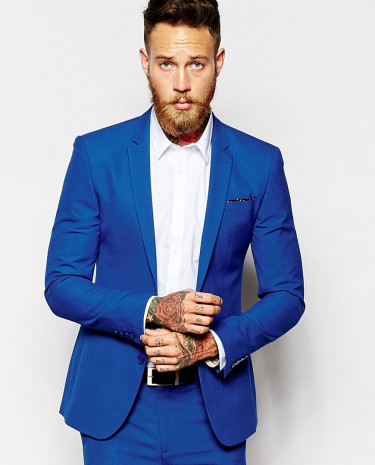 Fashion Shop - ASOS Super Skinny Suit Jacket In Blue - Blue