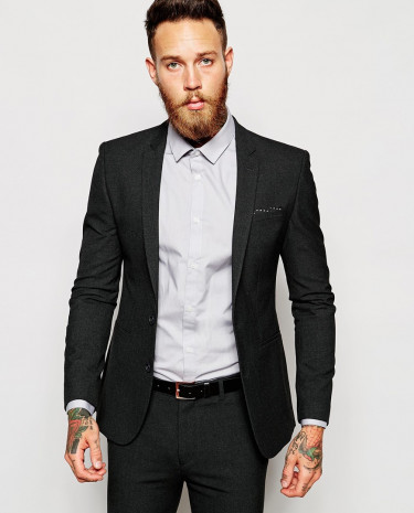 Fashion Shop - ASOS Super Skinny Suit Jacket In Charcoal - Charcoal
