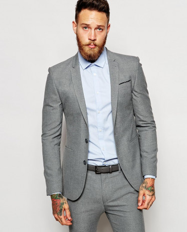 Fashion Shop - ASOS Super Skinny Suit Jacket In Grey - Grey