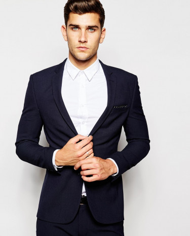 Fashion Shop - ASOS Super Skinny Suit Jacket In Navy - Navy