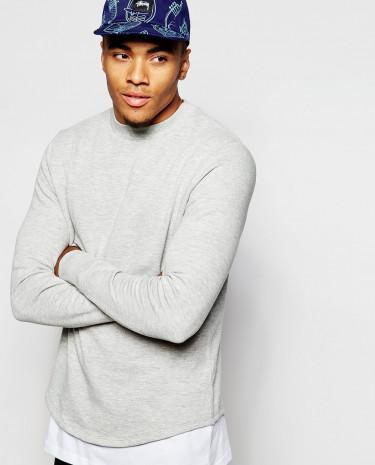 Fashion Shop - ASOS Sweatshirt With Curved Hem - Greymarl
