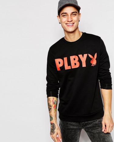 Fashion Shop - ASOS Sweatshirt With Playboy Print - Black
