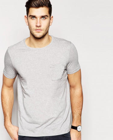Fashion Shop - ASOS T-Shirt With Pocket - Greymarl