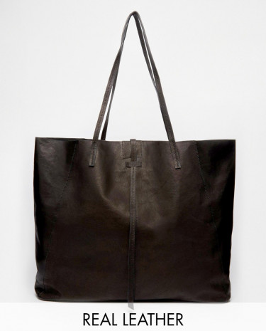Fashion Shop - ASOS Unlined Leather Shopper Bag With Tie Detail - Black
