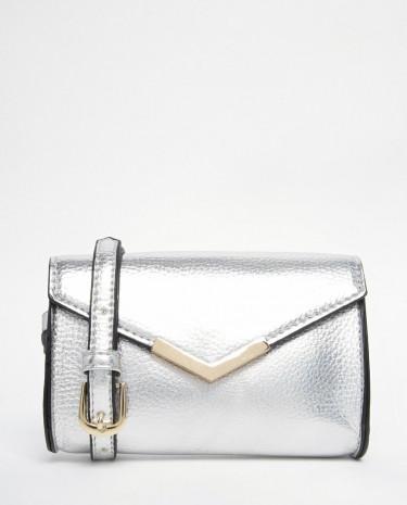 Fashion Shop - ASOS V Bar Mini Cross Body Bag - Silver