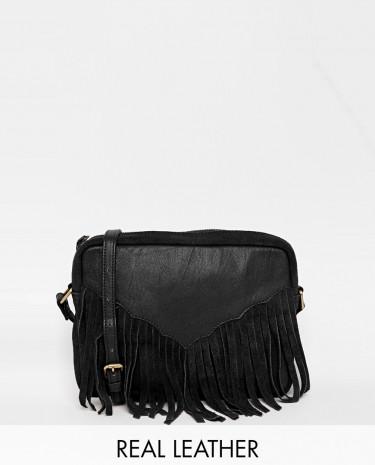 Fashion Shop - ASOS Western Tassel Suede And Leather Cross Body Bag - Black