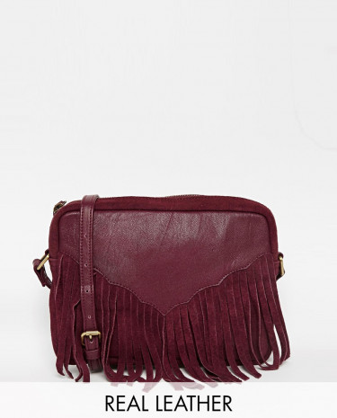 Fashion Shop - ASOS Western Tassel Suede And Leather Cross Body Bag - Oxblood
