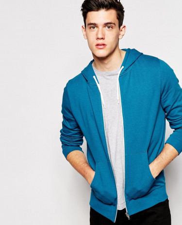 Fashion Shop - ASOS Zip Up Hoodie - Blue