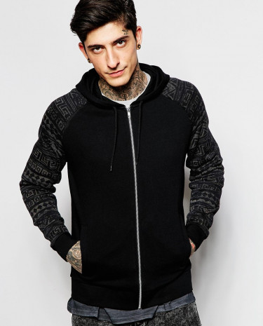 Fashion Shop - ASOS Zip Up Hoodie With Aztec Print Sleeves - Black