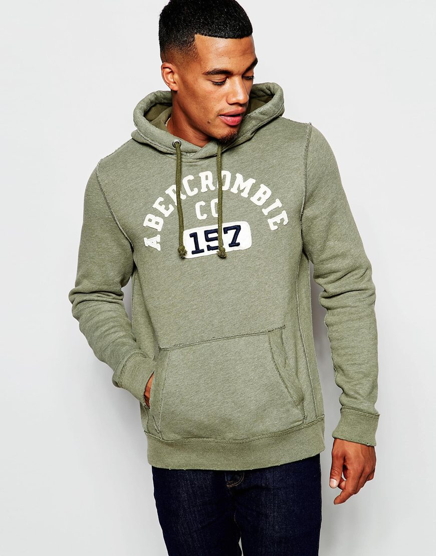 Fashion Shop - Abercrombie & Fitch Overhead Hoodie with 157 Applique - Olive