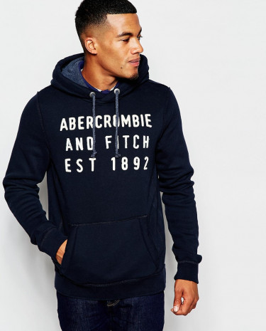 Fashion Shop - Abercrombie & Fitch Overhead Hoodie with Applique - Navy