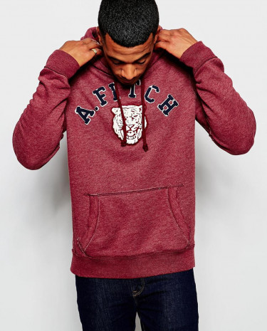 Fashion Shop - Abercrombie & Fitch Overhead Hoodie with Tiger Applique - Burgundy