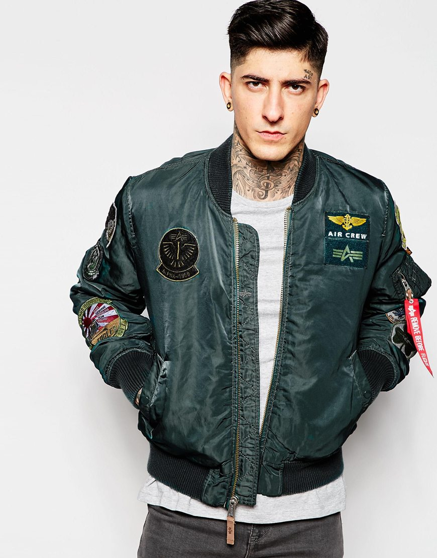 Fashion Shop Alpha Industries Bomber Jacket with Patches ... fbee3340f9d2
