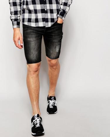 Fashion Shop - Antioch Denim Shorts With Distressing - Black