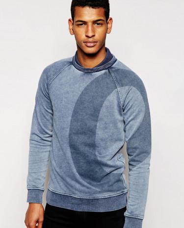 Fashion Shop - BOSS Orange Sweatshirt with Large O Print - Indigo
