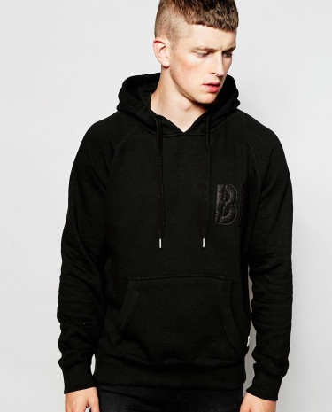 Fashion Shop - Bellfield Tracksuit Hoodie with Applique - Black