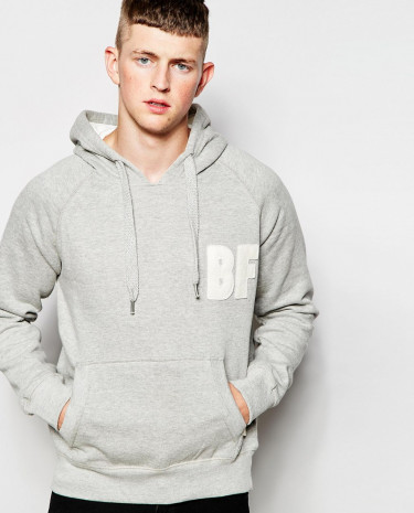 Fashion Shop - Bellfield Tracksuit Hoodie with Applique - Greymarl