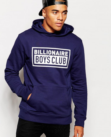 Fashion Shop - Billionaire Boys Club Hoodie With Box Logo - Navy
