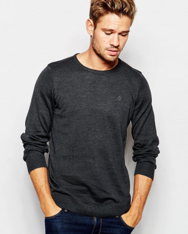 Fashion Shop - Blend Crew Knit Jumper Slim Fit in Charcoal - Charcoal