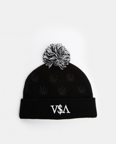 Fashion Shop - Cayler And Sons Budz And Stripes Bobble Hat - Black