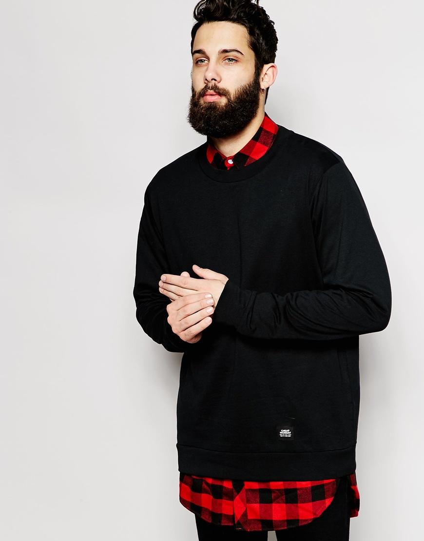 Fashion Shop - Cheap Monday Crew Sweatshirt Lightweight Basic - Black