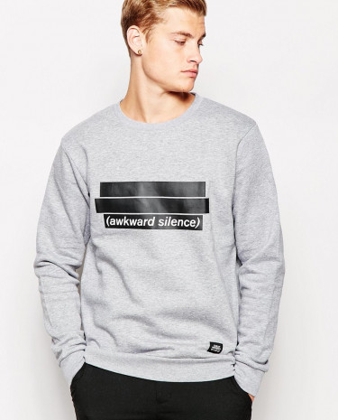 Fashion Shop - Cheap Monday Crew Sweatshirt Per Awkward Silence Print - Greymelange
