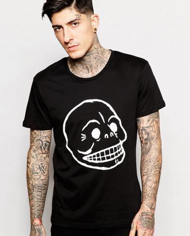 Fashion Shop - Cheap Monday T-shirt with Skull Print - Black