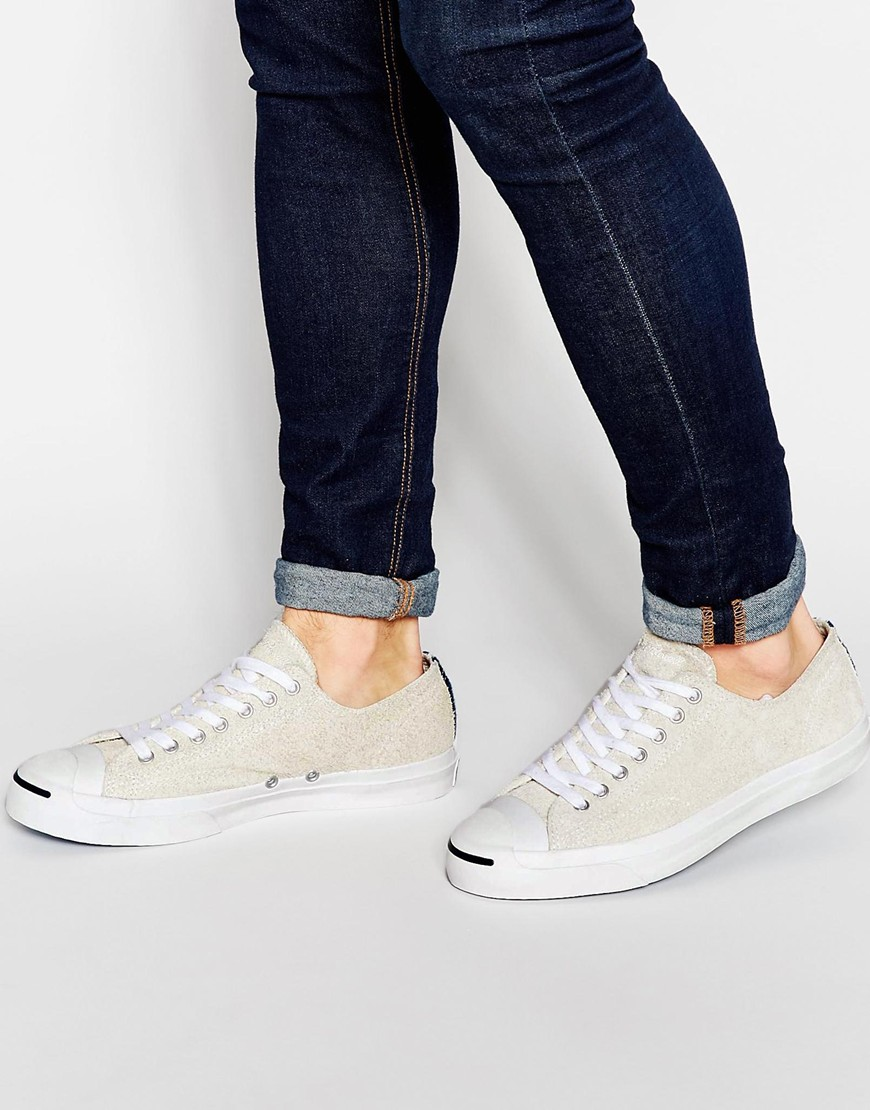 Fashion Shop Converse All Star Jack Purcell Suede Plimsolls - Cream ... 3cea0e811