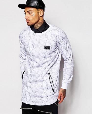 Fashion Shop - Criminal Damage Marble Sweater - White