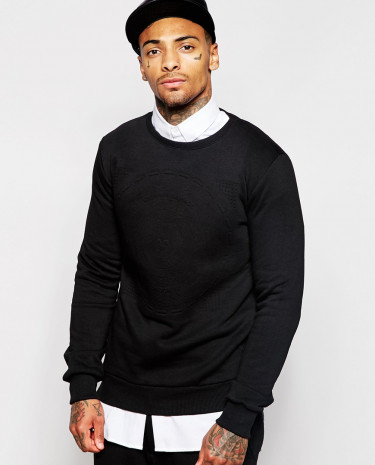 Fashion Shop - Criminal Damage Record Sweater - Black