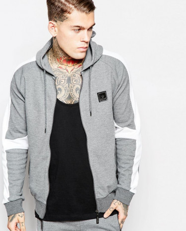 Fashion Shop - Criminal Damage Zip-Up Hoodie With Panelling - Grey